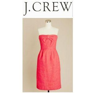 J. Crew Metallic-Linen Strapless Dress